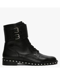 Daniel Nutter Black Leather Studded Ankle Boots - Negro