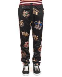 Dolce & Gabbana - Men's Crown Print Track Trousers - Black Multi - Size 48 (32) - Lyst