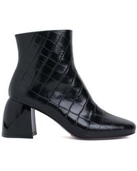 Sportmax | Croco-print Leather Ankle Boots | Lyst