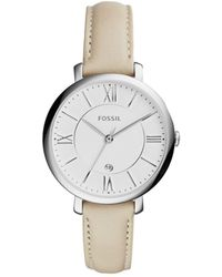 Fossil - Jacqueline Stainless Steel Women's Watch W/leather Band - Lyst