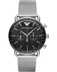 Emporio Armani - Aviator Silver Watch - Lyst