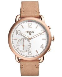 Fossil - Q Tailor Light Brown Leather Hybrid Smartwatch - Lyst