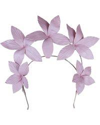 Morgan Taylor - Textured Pu Flowers On Halo Headband - Lyst