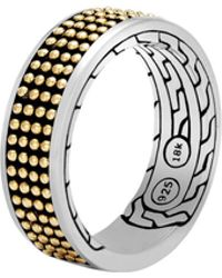 John Hardy - Chain Jawan 7.5mm Band Ring Silver And 18k Gold - Lyst