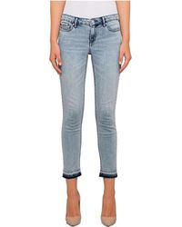Calvin Klein - Ankle Skinny With Turned Down Hem And Destruction - Lyst