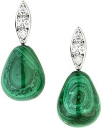 Jan Logan - 18ct Diamond Malachite Raindrop Earrings - Lyst