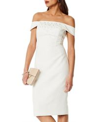Karen Millen - Beaded Bardot Pencil Dress - Lyst
