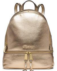 Michael Kors - Rhea Medium Metallic-leather Backpack - Lyst