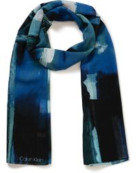 Calvin Klein - Abstract Painterly Chiffon - Lyst