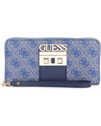 Guess - Logo Luxe Large Zip Around Wallet - Lyst