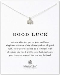 Dogeared - Sterling Silver Good Luck Elephant Necklace - Lyst
