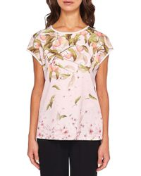 Ted Baker - Roozie Peach Blossom Woven Front Tee - Lyst