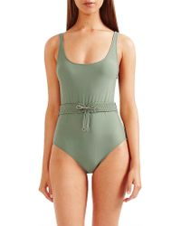 Tigerlily - Halle Belted Corset Lace Up One Piece Swimsuit - Vine Green - Lyst