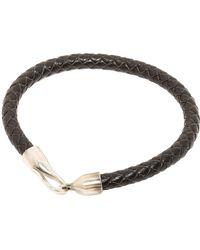 Simon Carter - Oxidised Silver Black Leather Hook Bracelet - Lyst