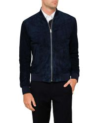 Paul Smith - Suede Leather Zip Bomber Jacket - Lyst