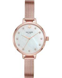 Kate Spade - Metro Rose Gold-tone Stainless Steel Mesh Bracelet Watch - Lyst