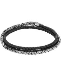 John Hardy - Classic Chain Wrap Bracelet In Silver And Leather - Lyst