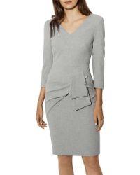 Karen Millen | Folded Pencil Dress - Grey | Lyst