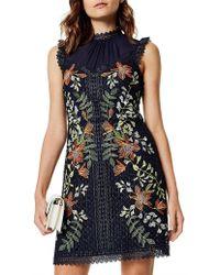 Karen Millen - Embroidered Sleeveless Dress - Lyst