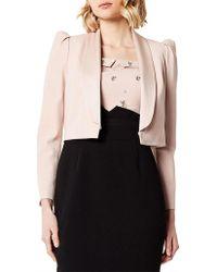 Karen Millen - Shawl Collar Micro Jacket - Lyst