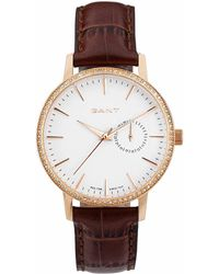 GANT - Park Hill Ii Mid, Rose Gold With Crystals, Brown Leather - Lyst