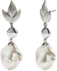 Meadowlark - Etched Leaf Baroque Drop Earrings - Lyst