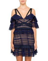 Self-Portrait - Striped Panelled Lace Dress - Lyst