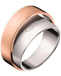 Calvin Klein - Unite Adjustable Ring In Rose Gold - Lyst