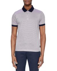 Ted Baker - Beagle Stripe Polo W/ Contrast Collar - Lyst