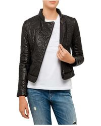 Armani Jeans - Floral Embossed Leather Jacket - Lyst