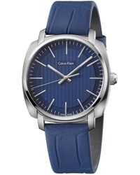 CALVIN KLEIN 205W39NYC - Blue Leather Strap Stainless Steel Case With Blue Dial - Lyst