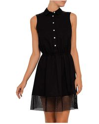 Armani Jeans - Cotton Poplin Dress With Colar And Mesh Detail - Lyst