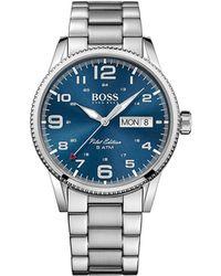 BOSS Black - Boss Mens Pilot Blue Dial Day/date S/s Bracelet - Lyst