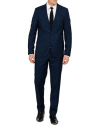 Sand - Wool Textured Check Suit - Lyst