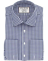 Thomas Pink - Summers Check Slim Fit Double Cuff Xl Sleeve Shirt - Lyst