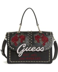 Guess - In Love Embroidered Top Handle Flap Crossbody - Lyst