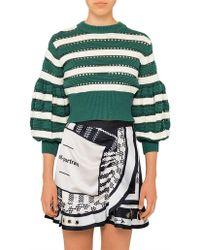Self-Portrait - Striped Cropped Sleeve Knit - Lyst