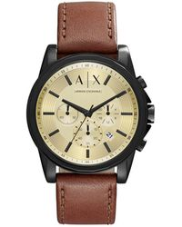 Armani Exchange - Outerbanks Dark Brown Leather And Stainless Steel Watch - Lyst
