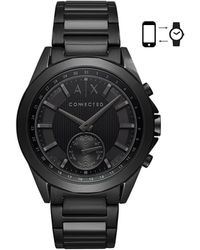 Armani Exchange - Men's Connected Black Stainless Steel Bracelet Hybrid Smart Watch 44mm - Lyst