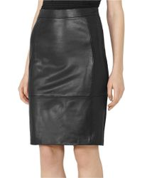Reiss - Avril-leather/ponte Skirt - Lyst
