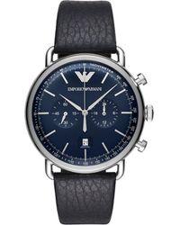 Emporio Armani - Aviator Blue Watch - Lyst