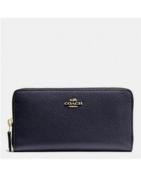 COACH - Accordion Zip Wallet In Polished Pebble Leather - Lyst