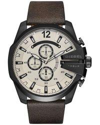 DIESEL - Mega Chief Dark Brown Leather And Stainless Steel Watch - Lyst