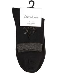 Calvin Klein - Modern Crystal Logo Anklet Sock - Lyst