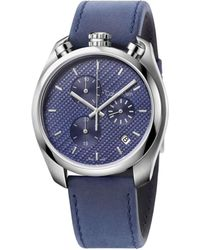 CALVIN KLEIN 205W39NYC - Control Polished/brush Ss Case Blue Dial Blue Lthr 46mm - Lyst