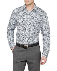 Ted Baker - L/s Cotton Floral Print S/cuff Shirt - Lyst