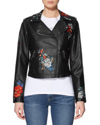 Guess - Ls Embroidered Moto Jacket - Lyst