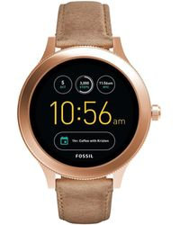 Fossil - Q 'gen 3 Venture' Touchscreen Stainless Steel And Leather Smart Watch, Color:beige (model: Ftw6005) - Lyst