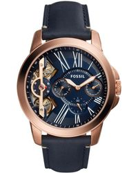Fossil | Grant Blue Leather And Stainless Steel Watch | Lyst