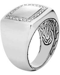 John Hardy - Classic Chain Signet Ring In Silver With Diamonds - Lyst